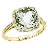 14K Yellow Gold 8 mm Cushion Green Amethyst and Diamond Ring