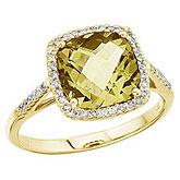 14K Yellow Gold 8 mm Cushion Lemon Quartz and Diamond Ring