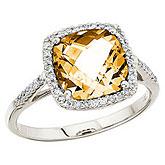 14K White Gold 8 mm Cushion Citrine and Diamond Ring