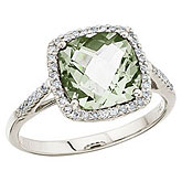 14K White Gold 8 mm Cushion Green Amethyst and Diamond Ring