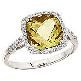 14K White Gold 8 mm Cushion Lemon Quartz and Diamond Ring