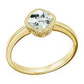 14K Yellow Gold 6 mm Cushion Green Amethyst Ring