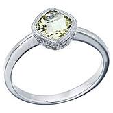 14K White Gold Lemon Quartz and Diamond Ring