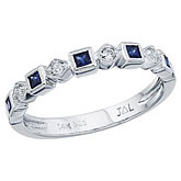 14K White Gold Stackable Sapphire and Diamond Band Ring