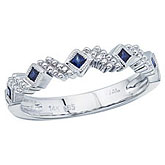 14K White Gold Stackable Princess Sapphire Band Ring