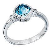 14K White Gold 6 mm Cushion Blue Topaz and Diamond Bezel Ring