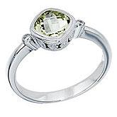 14K White Gold 6 mm Cushion Garnet and Diamond Bezel Ring