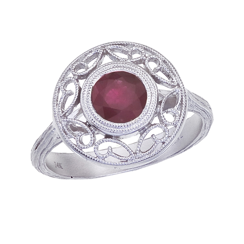 14k White Gold Ruby Filigree Ring