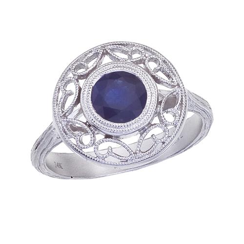 14k White Gold Sapphire Filigree Ring