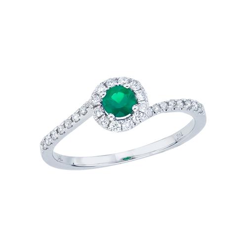 14k White Gold Emerald and Diamond Halo Swirl Ring