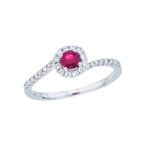 14k White Gold Ruby and Diamond Halo Swirl Ring