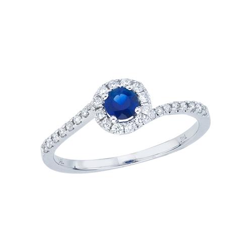 14k White Gold Sapphire and Diamond Halo Swirl Ring