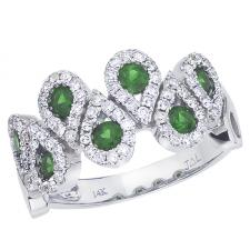 14k White Gold Emerald and Diamond Fashion Ring
