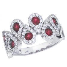 14k White Gold Ruby and Diamond Fashion Ring