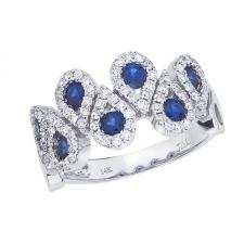 14k White Gold Sapphire and Diamond Fashion Ring