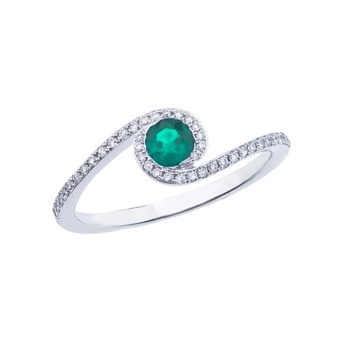 14k White Gold Emerald and .14 ct Diamond Swirl Ring