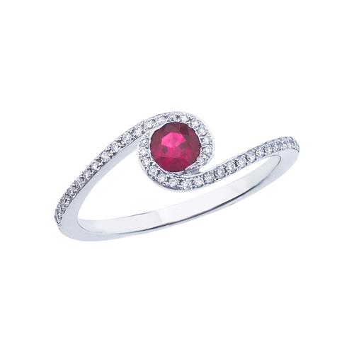 14k White Gold Ruby and .14 ct Diamond Swirl Ring