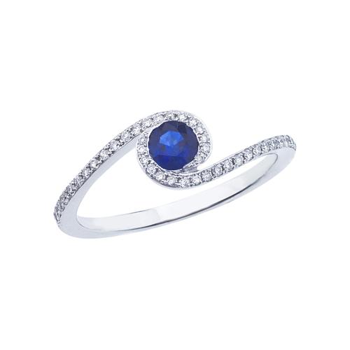 14k White Gold Sapphire and .14 ct Diamond Swirl Ring