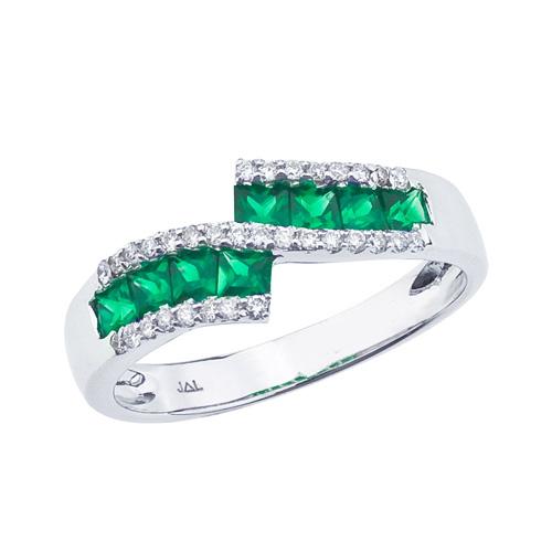 14k White Gold Emerald and .27 ct Diamond Fashion Ring