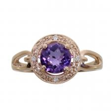 14k Rose Gold Amythest Fashion Ring