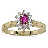 10k Yellow Gold Oval Pink Topaz And Diamond Ring