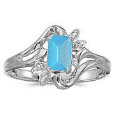 10k White Gold Emerald-cut Blue Topaz And Diamond Ring