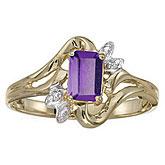 14k Yellow Gold Emerald-cut Amethyst And Diamond Ring