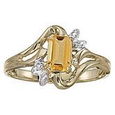 14k Yellow Gold Emerald-cut Citrine And Diamond Ring