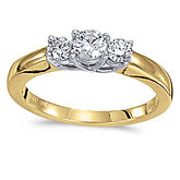 14k Yellow Gold 0.50 Ct Three Stone Trellis Diamond Ring