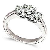 14k White Gold 0.75 Ct Three Stone Trellis Diamond Ring