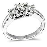 14k White Gold 1.00 Ct Three Stone Trellis Diamond Ring