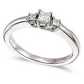 14k White Gold 0.25 Ct Three Stone Trellis Diamond Ring