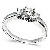 14k White Gold 0.50 Ct Three Stone Trellis Diamond Ring