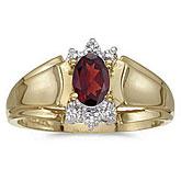 14k Yellow Gold Oval Garnet And Diamond Ring