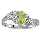 10k White Gold Oval Peridot And Diamond Ring