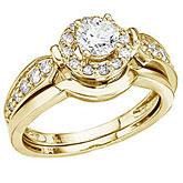 14K Yellow Gold .75 Ct Round Diamond Band Bridal Ring Set