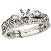 14K White Gold Baguette Diamond Bridal Ring Set