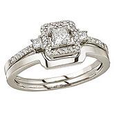 14K White Gold Princess Diamond Band Ring Set