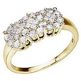 14K Yellow Gold .75 Ct Diamond Cluster Ring