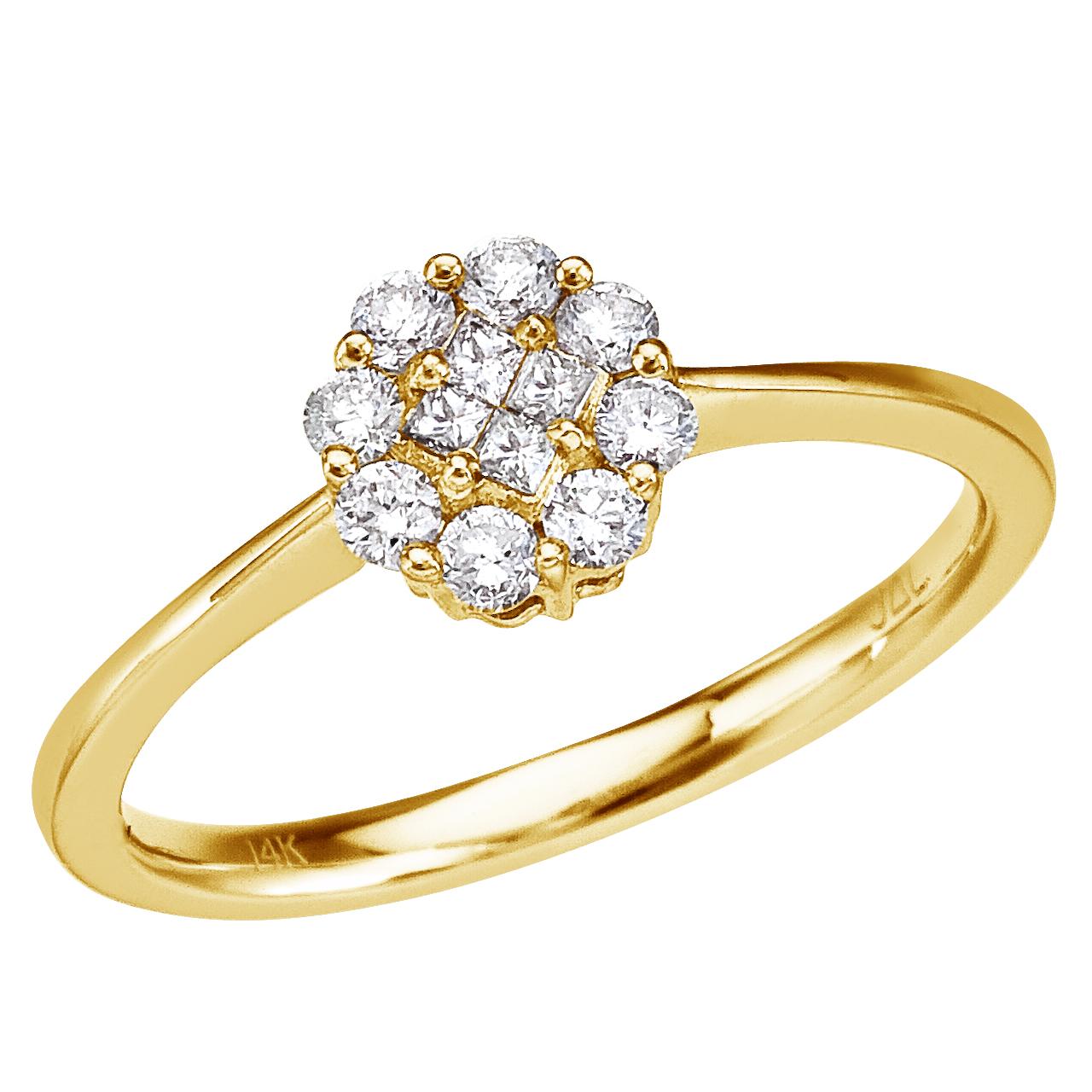 14k Yellow Gold .34 Ct Diamond Cluster Ring