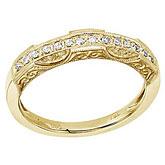 14K Yellow Gold Filigree Diamond Band Ring