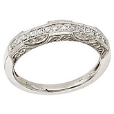14K White Gold Filigree Diamond Band Ring