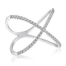 14k White Gold Diamond X Shape Fashion Ring