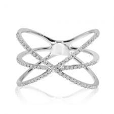 14k White Gold Diamond Orbital Fashion Ring