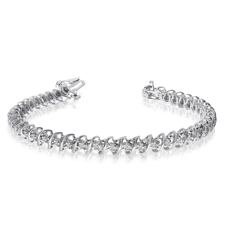 14K White Gold Diamond S Bracelet