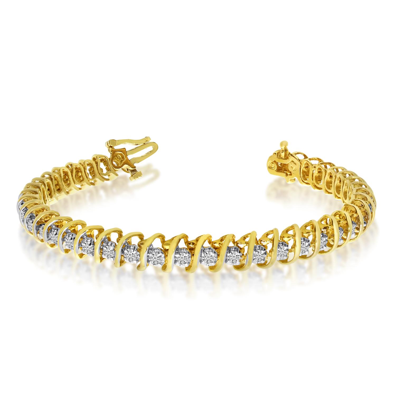 14K Yellow Gold Diamond S Bracelet