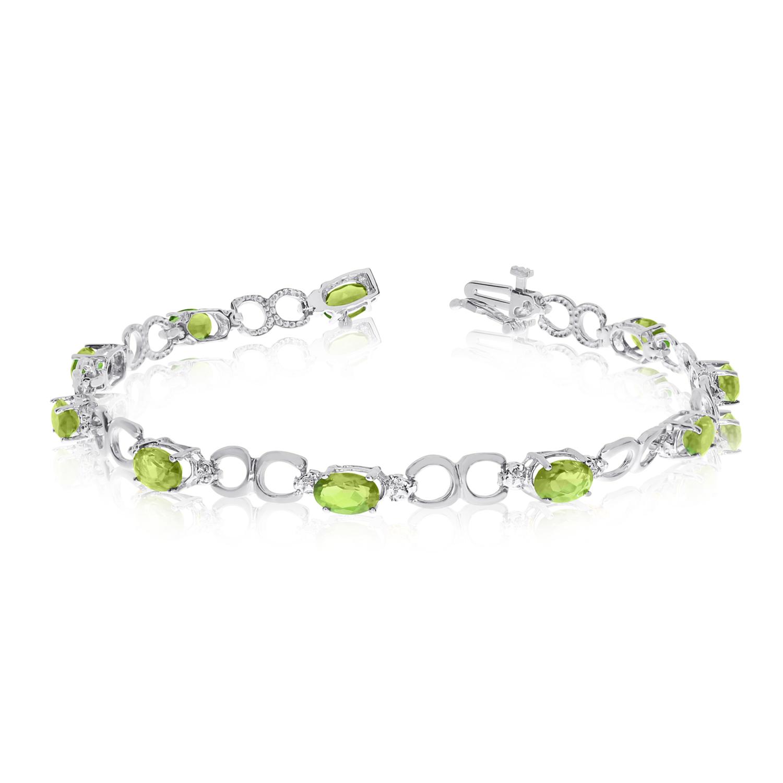 14K White Gold Oval Peridot and Diamond Bracelet