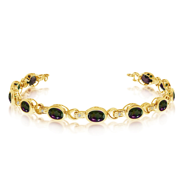 14K Yellow Gold Oval Mystic Topaz and Diamond Bracelet