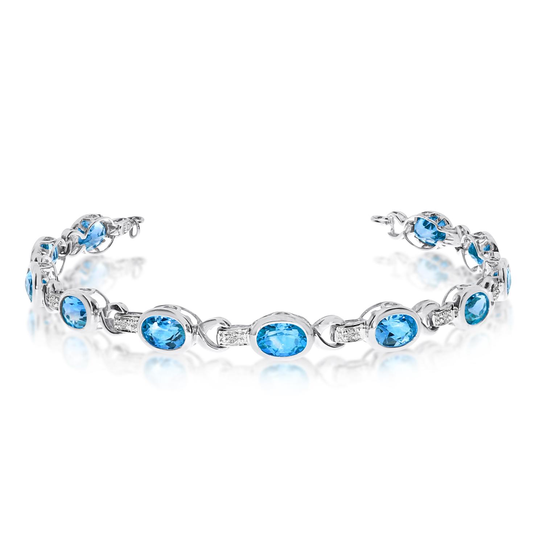 14K White Gold Oval Blue Topaz and Diamond Bracelet