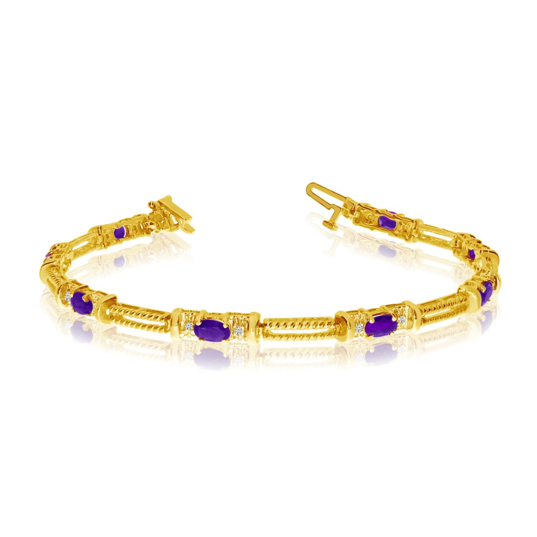 14K Yellow Gold Oval Amethyst and Diamond Bracelet